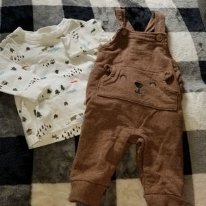 EUC Carter's Boys Woodland Overall Set - 3 months
